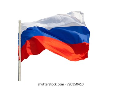 The flag of Russia on white background