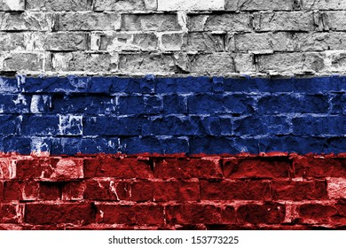 Flag of Russia painted on brick wall