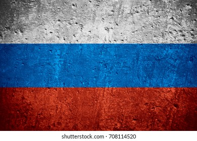 flag of Russia or Russian flag on scratched rough texture