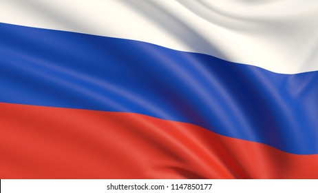 The flag of Russia, tricolor flag. Waved highly detailed fabric texture.