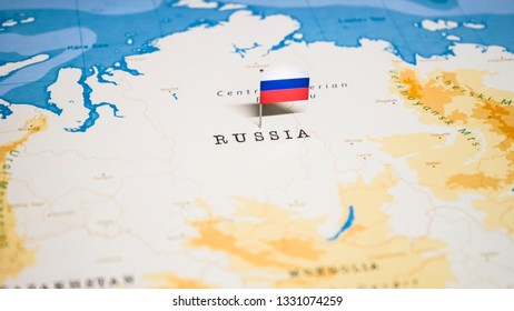 the Flag of russia in the world map