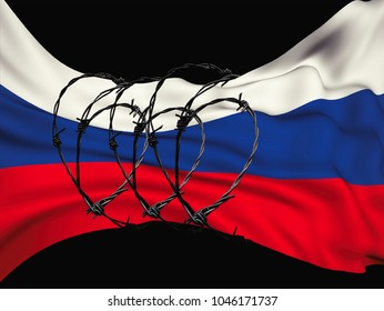 flag of the Russian Federation in barbed wire on a black background, sanctions and aggression of Russia.