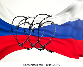 flag of the Russian Federation in barbed wire on a white background, sanctions and aggression of Russia.