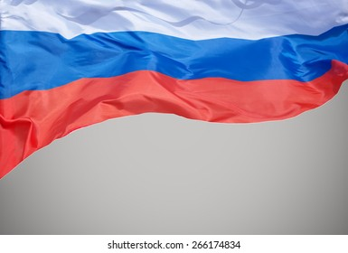 The flag of the Russian Federation waving in the wind.