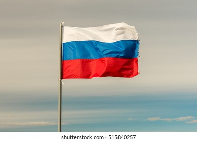 The flag of the Russian Federation waving in the wind