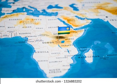 the Flag of rwanda in the world map