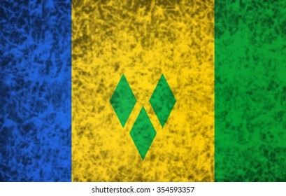 Flag of Saint Vincent and the Grenadines in grunge style.