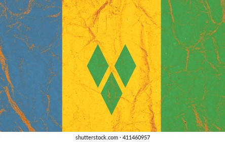 Flag of Saint Vincent and the Grenadines on Vintage Paper
