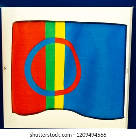 Flag of the  Sami nation in the Siida Museum, Inarin, Finland