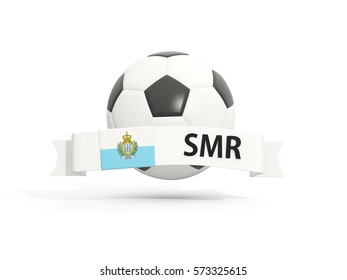 Flag of san marino, football with banner and country code isolated on white. 3D illustration