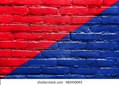 Flag of San Pedro de Riobamba, Ecuador, painted on brick wall