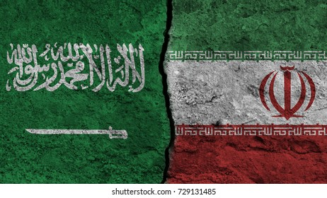 flag of the Saudi Arabia and Iran painted on wall divided with crack , conflict / relations of  Saudi Arabia and Iran , war concept