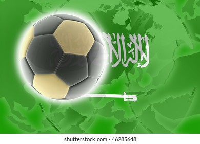 Flag of Saudi Arabia, national country symbol illustration sports soccer football