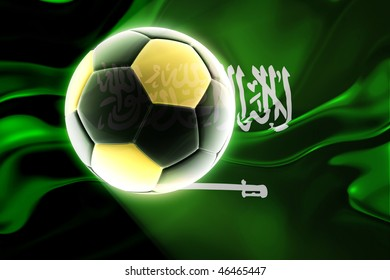 Flag of Saudi Arabia, national country symbol illustration wavy fabric sports soccer football