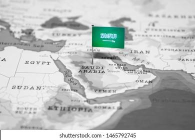 The Flag of Saudi Arabia in the World Map