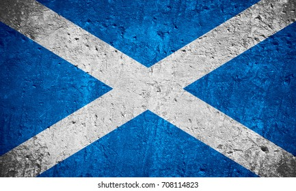 flag of Scotland or Scotch flag on scratched rough texture, Scottish flag