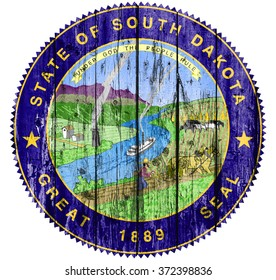 Flag of Seal South Dakota painted on wooden frame