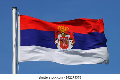 Flag of Serbia on a sunny day