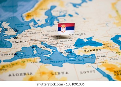 the Flag of serbia in the world map