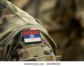 Flag of Serbian Krajina on military uniform. Army, armed forces, soldiers. Collage. - Shutterstock ID 1566900433