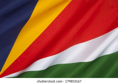 The flag of the Seychelles was adopted on June 18, 1996. The Seychelles are a group of about ninety islands in the Indian Ocean, about 1,000 km (600 miles) northeast of Madagascar,
