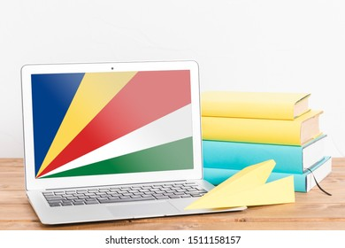 Flag of Seychelles on Laptop. Seychelles Flag on Screen.