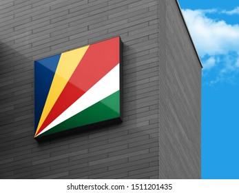 Flag of Seychelles on Signage Board. Seychelles Flag on building Signage Board.