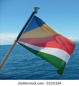 flag of seychelles in the wind