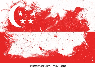 Flag of singapore with Grunge Wall texture. Background texture With Dots, Spots, Noise, Scratches, Cracks, Stain, Dirt, Spray Paint.