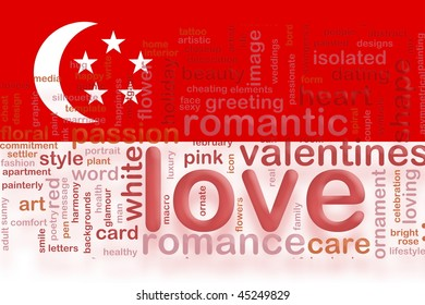 Flag of Singapore, national country symbol illustration love romance