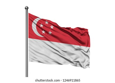 Flag of Singapore waving in the wind, isolated white background. Singaporean flag.