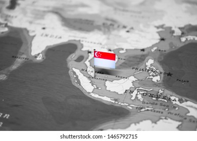 The Flag of Singapore in the World Map