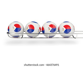 Flag of sint maarten on lottery balls. 3D illustration