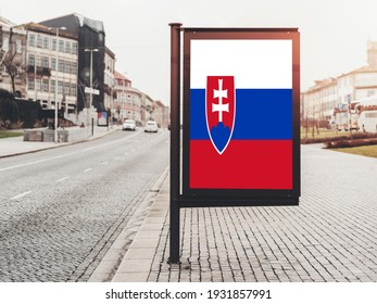 Flag of Slovakia Hanging on Advertising Board. Slovakia Flag for advertising, award, achievement, festival, election.