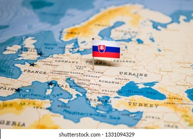 the Flag of slovakia in the world map