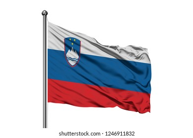Flag of Slovenia waving in the wind, isolated white background. Slovenian flag.