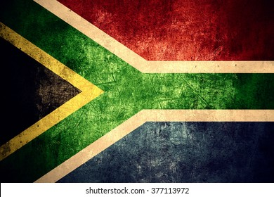 flag of South Africa or South African banner on rough pattern texture vintage background