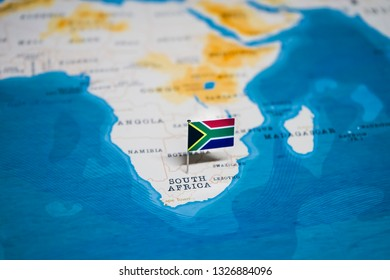 the Flag of south africa in the world map