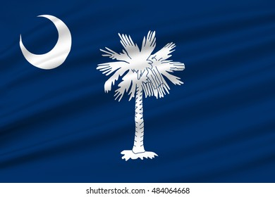 Flag of South Carolina is a state of the United States. 3D illustration