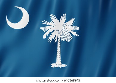 Flag of South Carolina, US state. 3D illustration of the South Carolina flag waving.