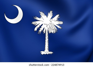 Flag of South Carolina, USA. Close Up.