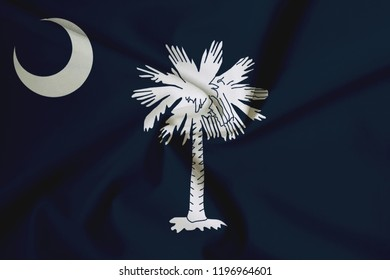 Flag of South Carolina, USA, with fabric texture background