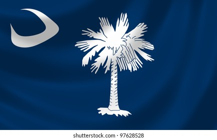 Flag of South Carolina waving in the wind detail
