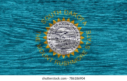 Flag of South Dakota state (USA) on wood texture background