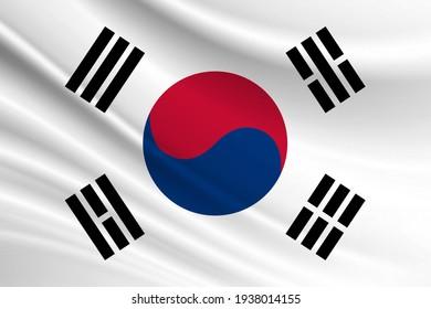 Flag of South Korea Fabric texture of the flag of South Korea.