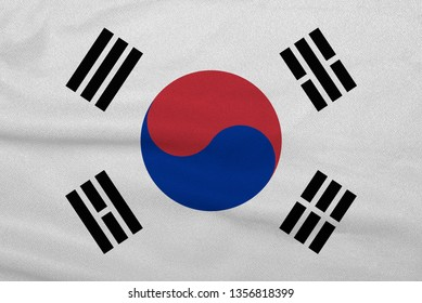 Flag of the South Korea from the factory knitted fabric. Backgrounds and Textures.