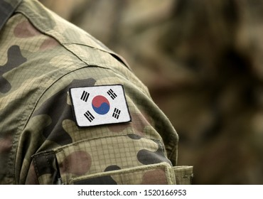 Flag of South Korea on military uniform (collage).
