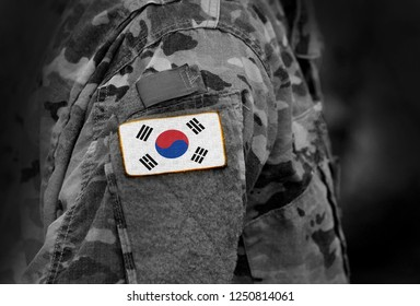 Flag of South Korea on soldiers arm. Flag of South Korea on military uniforms (collage).