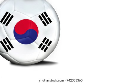 The flag of South Korea was represented on the ball, the ball is isolated on a white background with space for your text.