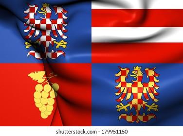 Flag of South Moravian Region, Czech Republic. Close Up.